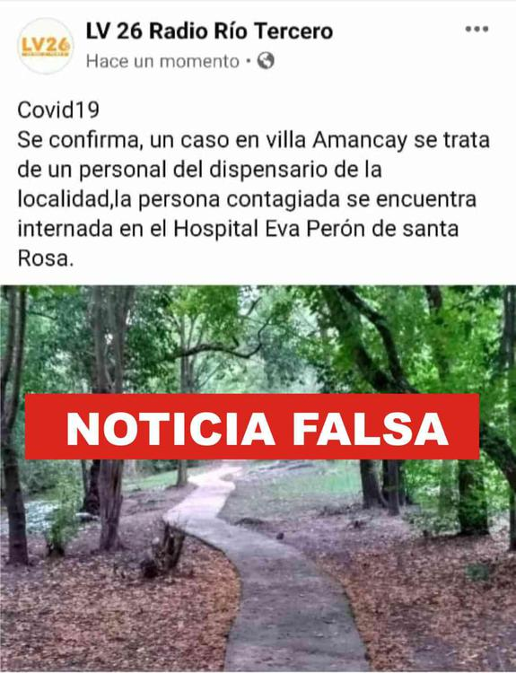 Noticia Falsa corona En Calamuchita